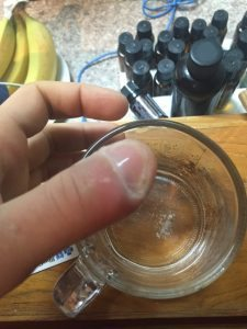 Soaking the infected finger in hydrogen peroxide after the bentonite clay worked its magic. Plop, fizz, oh what a relief it is.