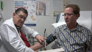 Patient with his doctor after receiving stem cell therapy